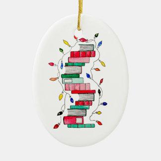 Adorno De Cerámica Pila de libro festiva