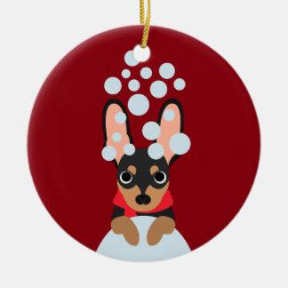Adorno De Cerámica Pin del minuto del perro de la nieve