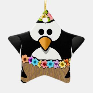 Adorno De Cerámica Pingüino hawaiano con las flores y la falda de