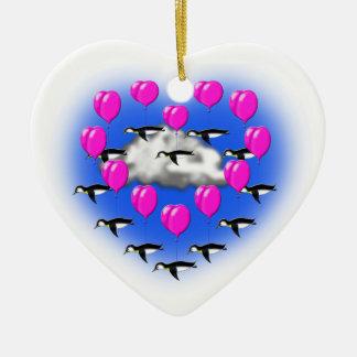 Adorno De Cerámica pingüinos de las tarjetas del día de San Valentín,