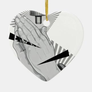 Adorno De Cerámica Pintada de rogación de las manos