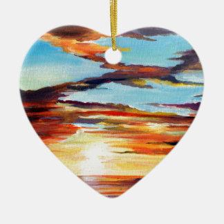 Adorno De Cerámica Pintura de acrílico de la puesta del sol