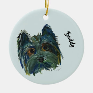 Adorno De Cerámica Pintura linda del arte pop de Yorkie del perro en