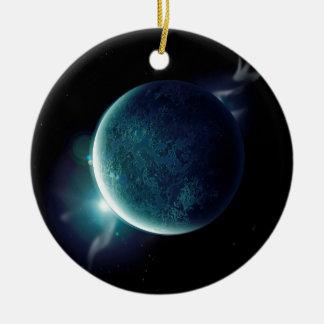 Adorno De Cerámica planeta verde en el universo con aureola y