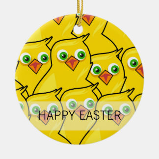 Adorno De Cerámica Pollos amarillos brillantes preciosos de Pascua