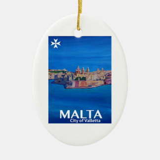 Adorno De Cerámica Poster retro Malta La Valeta - ciudad de