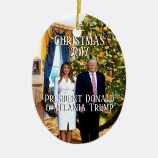 Adorno De Cerámica Presidente Donald Trump y árbol de navidad de