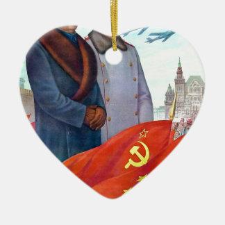 Adorno De Cerámica Propaganda original Mao Zedong y Joseph Stalin