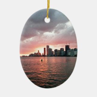 Adorno De Cerámica Puesta del sol sobre Miami