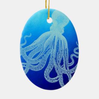 Adorno De Cerámica Pulpo gigante del vintage en el océano azul