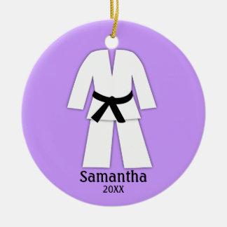 Adorno De Cerámica Púrpura de la correa negra del karate del