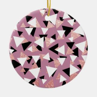 Adorno De Cerámica Purpurina subió triángulos geométricos elegantes