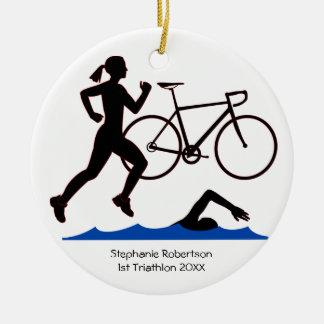 Adorno De Cerámica Recuerdo de la hembra del Triathlon