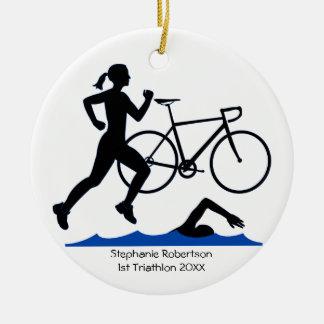Adorno De Cerámica Recuerdo femenino del Triathlon en azul