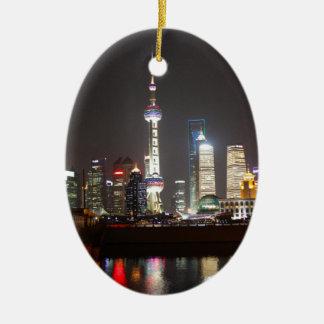 Adorno De Cerámica Reflexiones de Shangai en la noche