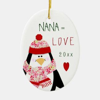 Adorno De Cerámica Regalo del navidad del pingüino de NANA del amor