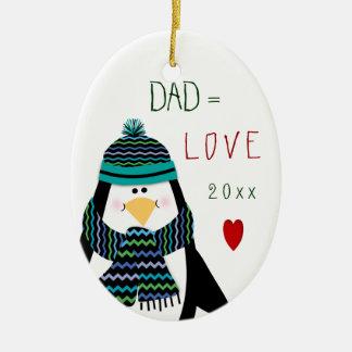 Adorno De Cerámica Regalo del navidad del pingüino del PAPÁ del amor