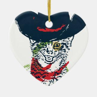 Adorno De Cerámica Retrato 2 del gato del vaquero del Grunge