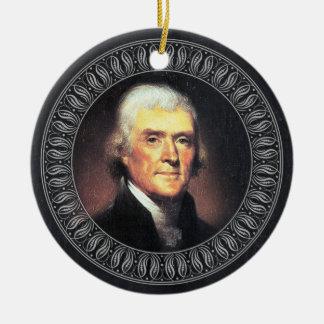 Adorno De Cerámica Retrato y cita de Thomas Jefferson - de doble cara