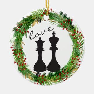 Adorno De Cerámica Rey personalizado del negro del ajedrez, amor de