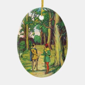 Adorno De Cerámica Robin Hood y pequeño Juan