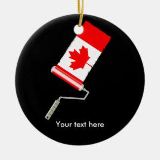 Adorno De Cerámica Rodillo de pintura canadiense de la bandera