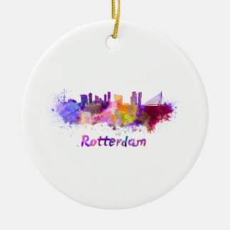 Adorno De Cerámica Rotterdam skyline in watercolor