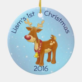 Adorno De Cerámica Rudolph lindo para el 1r navidad del bebé