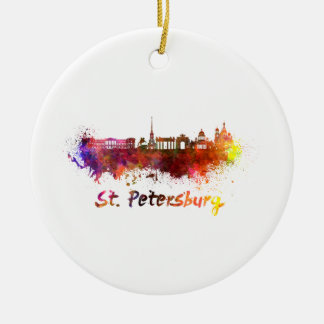 Adorno De Cerámica Saint Petersburg skyline in watercolor
