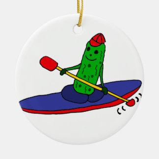 Adorno De Cerámica Salmuera Kayaking enrrollada divertida