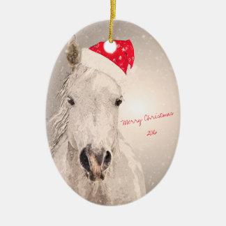 Adorno De Cerámica Saludos del día de fiesta del caballo del navidad