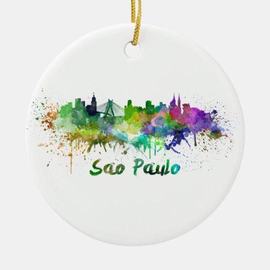Adorno De Cerámica Sao Paulo skyline in watercolor