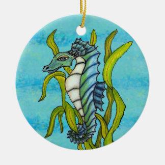 Adorno De Cerámica Seahorse azul del dragón del mar de la aguamarina