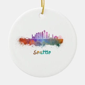 Adorno De Cerámica Seattle V2 skyline in watercolor