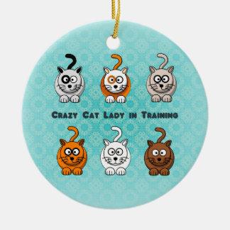 Adorno De Cerámica Señora loca In Training Ornament del gato