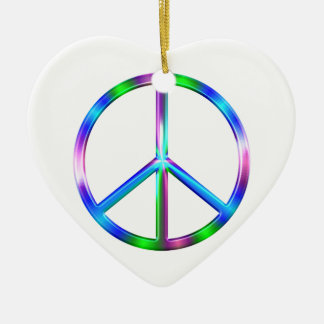 Adorno De Cerámica Signo de la paz colorido brillante