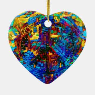 Adorno De Cerámica Símbolo de paz colorido del mosaico