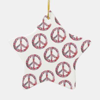 Adorno De Cerámica Símbolos de paz florales lejos demasiado bonitos