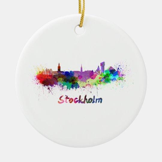 Adorno De Cerámica Stockholm skyline in watercolor