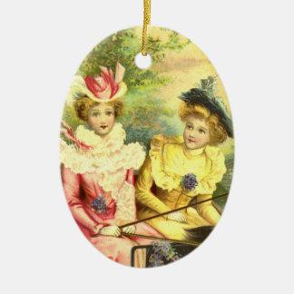 Adorno De Cerámica Suposición de las señoras Edwardian del navidad