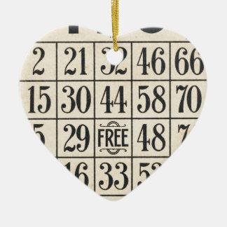 Adorno De Cerámica Tarjeta del bingo del vintage