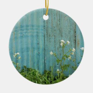 Adorno De Cerámica textura azul de la cerca de la pintura de la