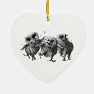 Adorno De Cerámica Three Crazy but Cunning Owls