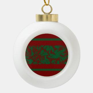 Adorno De Cerámica Tipo Bola Diseño verde rojo del follaje del navidad