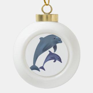 Adorno De Cerámica Tipo Bola Dos delfínes tropicales que saltan al lado de uno
