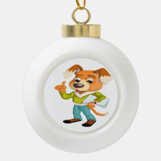 Adorno De Cerámica Tipo Bola Estudiante del perro del dibujo animado que