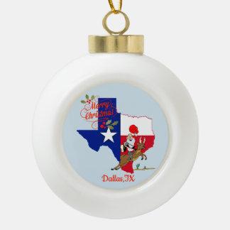 Adorno De Cerámica Tipo Bola Felices Navidad Dallas Tejas