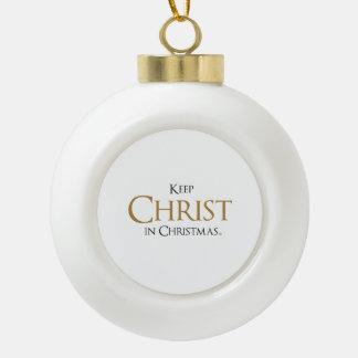 Adorno De Cerámica Tipo Bola Mantenga a Cristo Christmas® enmarcó el ornamento