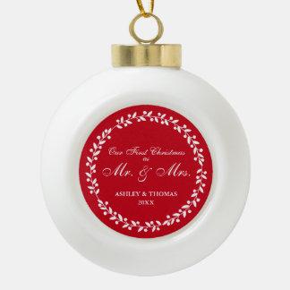 Adorno De Cerámica Tipo Bola Nuestro primer navidad como Sr. y señora Red