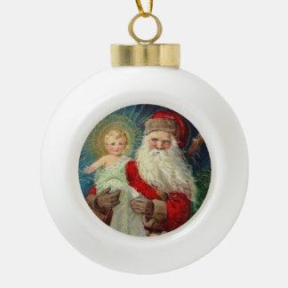 Adorno De Cerámica Tipo Bola Papá Noel que detiene al bebé Jesús